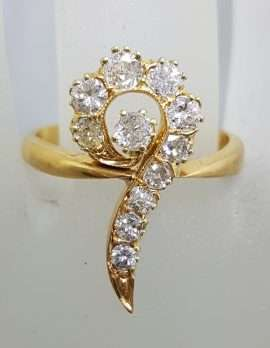 Antique 22ct Yellow Gold Large Diamond Twist Cluster Ring - Hallmarked London 1892