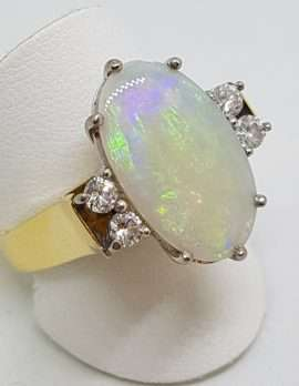 18ct Yellow Gold Large Oval Solid White Opal with Diamond Ring
