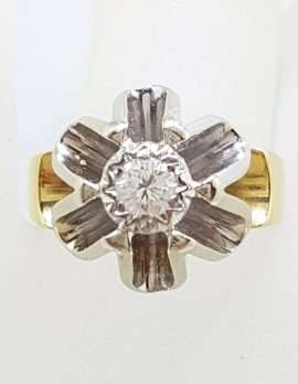 Very Unusual 18ct Gold & Platinum High set Diamond Ring - Heavy - Antique / Vintage