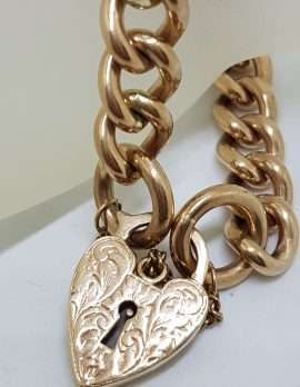 9ct Rose Gold Heavy and Solid Curb Link Ornate Heart Padlock Bracelet