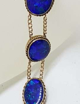 9ct Rose Gold Stunning Blue Opal Bracelet - Antique / Vintage