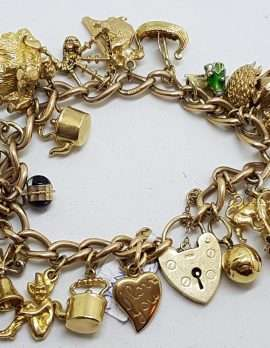 9ct Yellow Gold Heavy and Solid Curb Link Charm Bracelet with Heart Padlock - Including Enamel Charms - Antique / Vintage