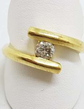 18ct Yellow Gold Diamond Ring with Matching 9ct Gold Diamond Hoop Earrings Set