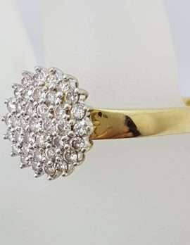 9ct Yellow Gold Large Round Diamond Cluster Claw Set Ring - Large Size