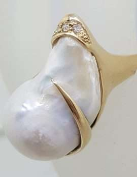 14ct Yellow Gold Large Baroque Pearl & Diamond Ring - Handmade