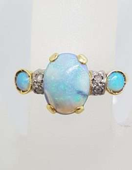18ct Yellow Gold Opal and Rose Cut Diamond Ring