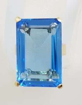 9ct Yellow Gold Large Rectangular Deep Blue Topaz Claw Set Cocktail Ring