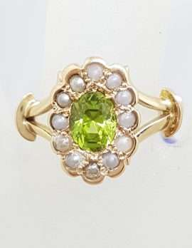 9ct Yellow Gold Oval Peridot and Seedpearl Cluster Ring - Antique / Vintage