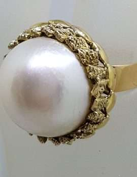 14ct Yellow Gold Large Ornate Set Round Mabe Pearl Ring - Antique / Vintage
