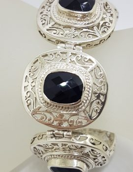 Sterling Silver Faceted Onyx Ornate Filigree Large / Wide Bracelet