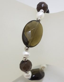 Sterling Silver Smokey Quartz and Pearl Bracelet