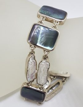 Sterling Silver Large Rectangular Black / Grey Mother of Pearl with Baroque Pearl Bracelet