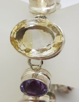 Sterling Silver Large Citrine and Amethyst Bracelet
