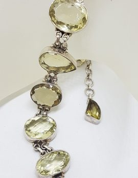Sterling Silver Wide Chunky Multi-Shape Citrine Bracelet