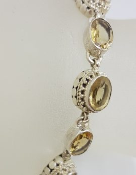 Sterling Silver Oval Ornate Bezel Set Citrine Bracelet