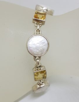 Sterling Silver Square Citrine with Round Button Pearl Bracelet
