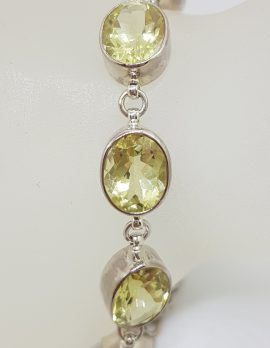 Sterling Silver Oval Bezel Set Lemon Citrine Bracelet