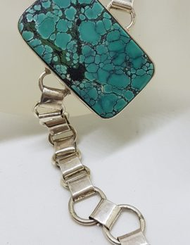 Sterling Silver Stunning Very Large and Chunky Rectangular Natural Turquoise Bracelet