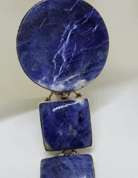 Sterling Silver Large Round and Square Sodalite Bracelet