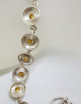 Sterling Silver Round Citrine in Circles Bracelet
