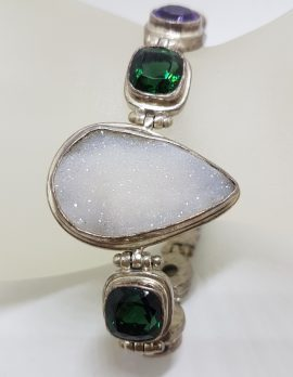 Sterling Silver Large Teardrop / Pear Shape Druzy Quartz with Green Quartz, Amethyst and Pearl Bracelet