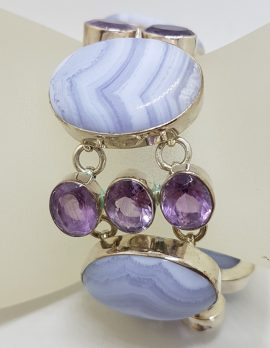 Sterling Silver Large Oval Blue Lace Agate with Amethyst Wide / Chunky Bracelet