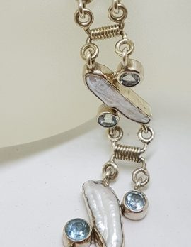Sterling Silver Blister Pearl and Topaz Bracelet