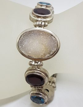 Sterling Silver Oval Druzy Quartz with Garnet and Topaz Bracelet