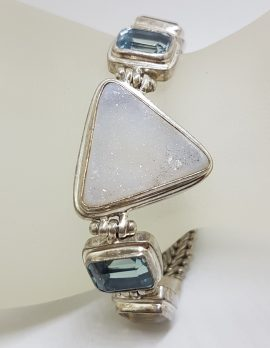 Sterling Silver Triangular Druzy Quartz with Citrine and Topaz Bracelet