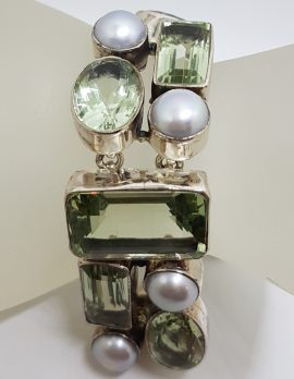 Sterling Silver Wide & Chunky Green Amethyst / Prasiolite and Pearl Bracelet