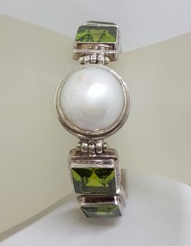 Sterling Silver Mabe Pearl with Green Heavy Bracelet