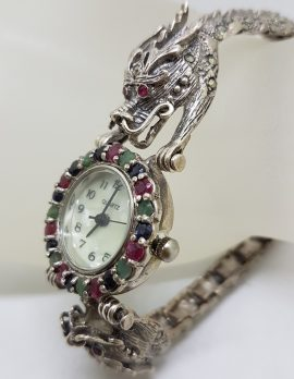 Sterling Silver Marcasite, Emerald, Ruby and Sapphire Dragon Design Watch