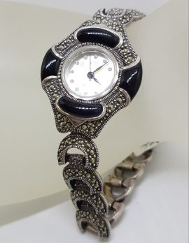 Sterling Silver Marcasite and Onyx Watch - Quartz