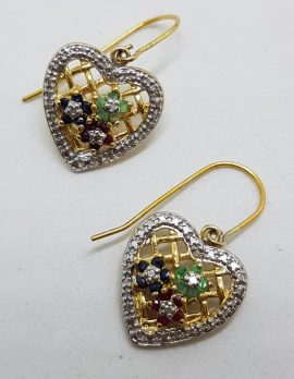 Sterling Silver Gold Plated Ruby, Emerald and Sapphire Cluster Ornate Heart Drop Earrings