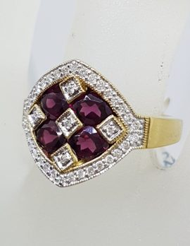 Stunning 9ct Yellow Gold Large & Solid Rhodolite Garnet and Diamond Cluster Ring