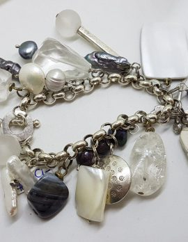 Sterling Silver Vintage Large and Heavy Charm Bracelet with Pearls and Mother of Pearl