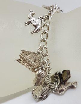 Sterling Silver Vintage 10 Charm Bracelet