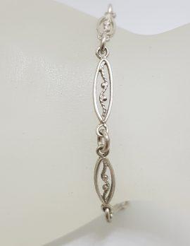 Sterling Silver Vintage Ornate Link Bracelet