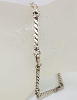 Sterling Silver Vintage Solid Twist Link Bracelet