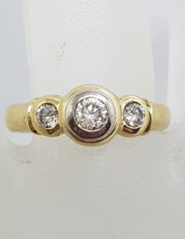18ct Yellow and White Gold - Two Tone - Bezel Set Trilogy Diamond Engagement / Dress Ring