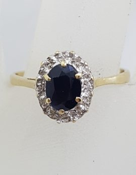 9ct Yellow Gold Oval Sapphire and Diamond Cluster Ring - Vintage / Antique
