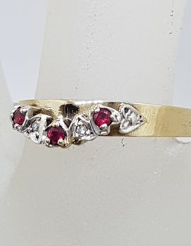 9ct Yellow Gold Half Round Ruby and Diamond Eternity / Wedding Ring - Vintage / Antique