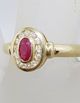 9ct Yellow Gold Natural Ruby & Diamond Oval Channel Set Cluster Ring