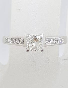 18ct White Gold Princess Square Cut Diamond Claw and Channel Set Engagement Ring