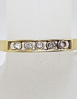 9ct Yellow Gold 5 Diamond Eternity / Wedding /Band Ring