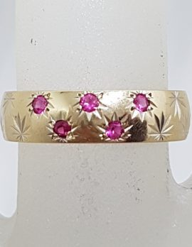 9ct Yellow Gold Wide Patterned Ruby Friendship / Wedding Band Ring