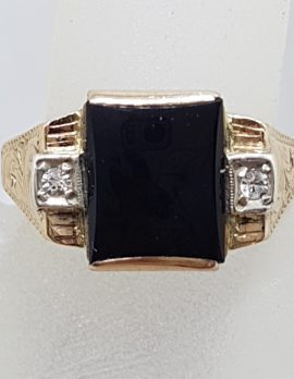 9ct Rose Gold Rectangular Onyx and Cubic Zirconia Gents Ring - Antique / Vintage