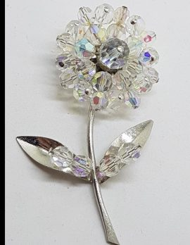 Vintage Large Clear Crystal Flower Brooch