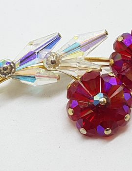 Vintage Red Crystal Flower Brooch