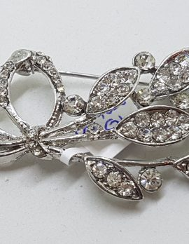 Vintage Plated Rhinestone Floral Spray Brooch